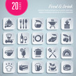 set of 20 food and drink themed icons (transparent shadows)
