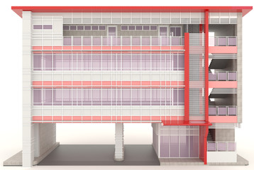 Red 3D modern office building exterior design in white backgroun