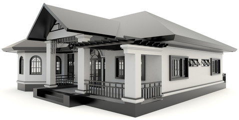 3D black vintage house exterior design in isolated background