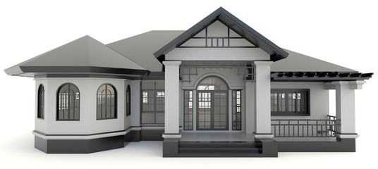 3D black vintage house exterior in isolated background