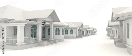 3D residential estate village design in white background