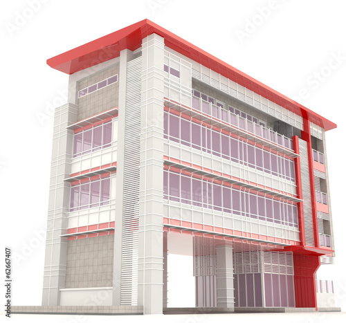 Side of 3D modern office building architecture exterior design i