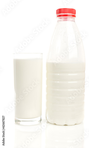 Glass and Bottle of Milk on White Background