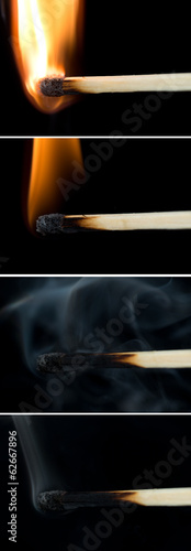matches over black background