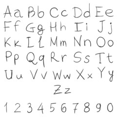Vector Handwritten Alphabet with Numbers