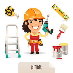 Female Builders Icons Set