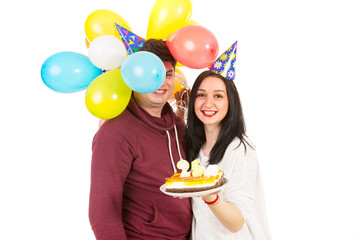 Couple celebrate woman birthday