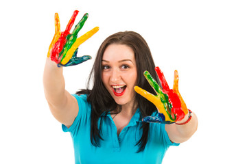 Happy woman showing colorful hands