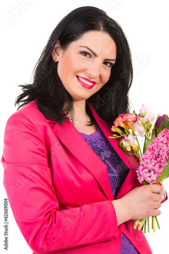 Beauty spring woman with flowers