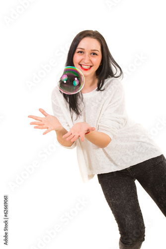 Woman catch big bubble