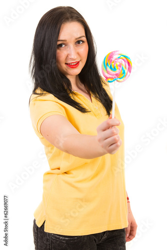 Woman offering lollipop