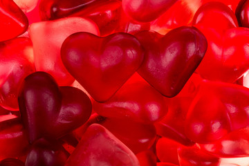 Brightly coloured red gums hearts