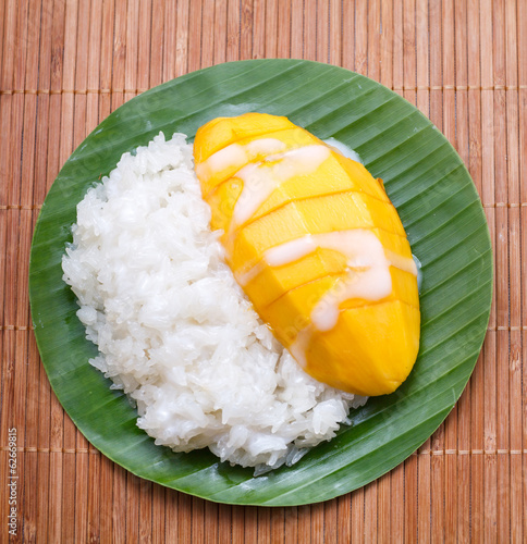dessert sweet sticky rice with mango coconut milk