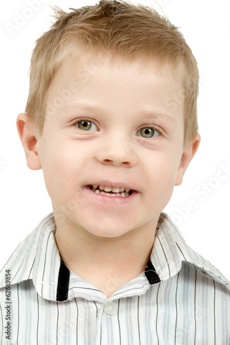 Studio portrait of young beautiful boy