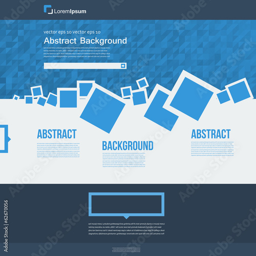 Vector  website. Abstract blue brochure card and squares