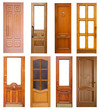 Set of wooden doors. Isolated over white