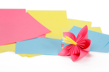 Paper pink flower on the paper