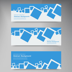 Vector  banner. Abstract blue brochure card and squares
