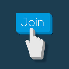 Join us Button with Hand Shaped Cursor, vector Eps10 image.