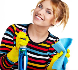 Spring cleaning woman ready for spring cleaning smiling with rub