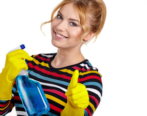 Young woman as a cleaning maid holding  liquids and showing OK s