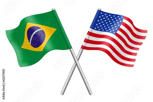 Flags : Brazil and United States