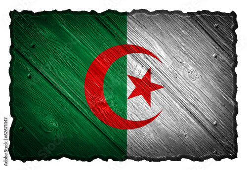 Algeria flag painted on wooden tag