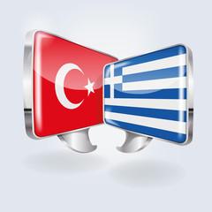 Sprechblasen in türkisch und griechisch