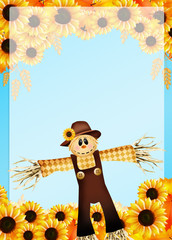 frame of sunflowers and scarecrow