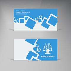 Vector  business card. Abstract blue brochure card and squares