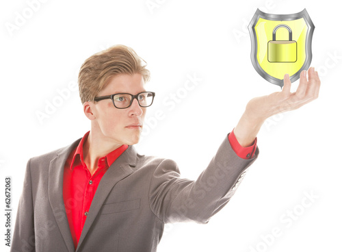 Young man holding protection shield isolated on white background