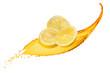 Falling slices of lemon with juice splash isolated on white