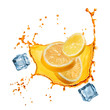 flying slices of orange and lemon in juice splash isolated on wh