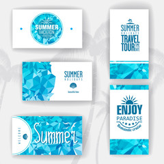 Set of geometric summer visiting card. corporate identity