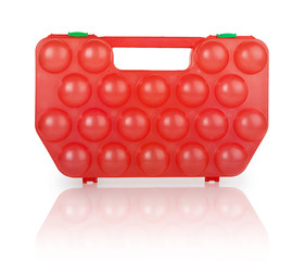 red plastic case for eggs
