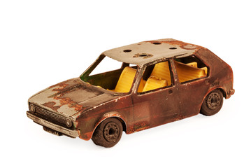 broken brown children's toy car model