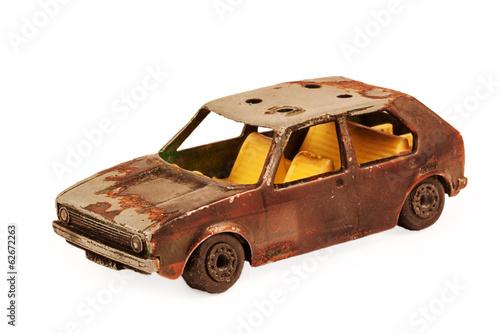 broken brown children's toy car model - 62672263