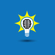 idea bulb with brain glowing with solutions - concept vector ico