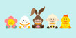 Bunny & Friends Eggs Retro Pastel