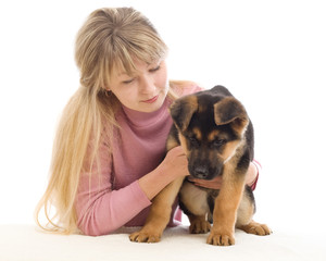 young woman and puppy