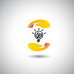 idea light bulb & hand for protection - concept vector icon