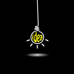 idea light bulb hanging in black background - concept vector ico