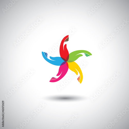 abstract colorful woman hands vector icons in circle