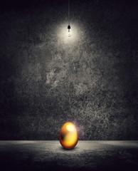 gold egg under light