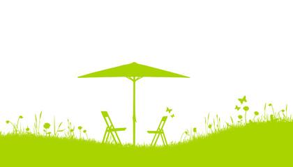 Wiese Garten Sonnenschirm