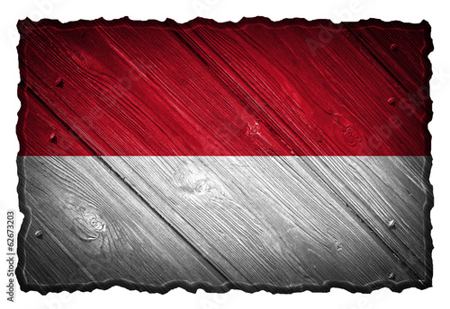 Indonesia flag painted on wooden tag
