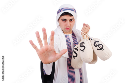 Arab man with money sacks isolated on white