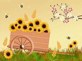 handcart in spring
