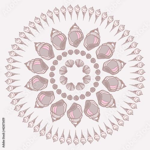 Mandala made of Seashells.