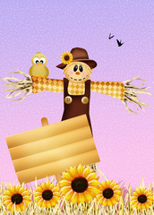 bird on scarecrow